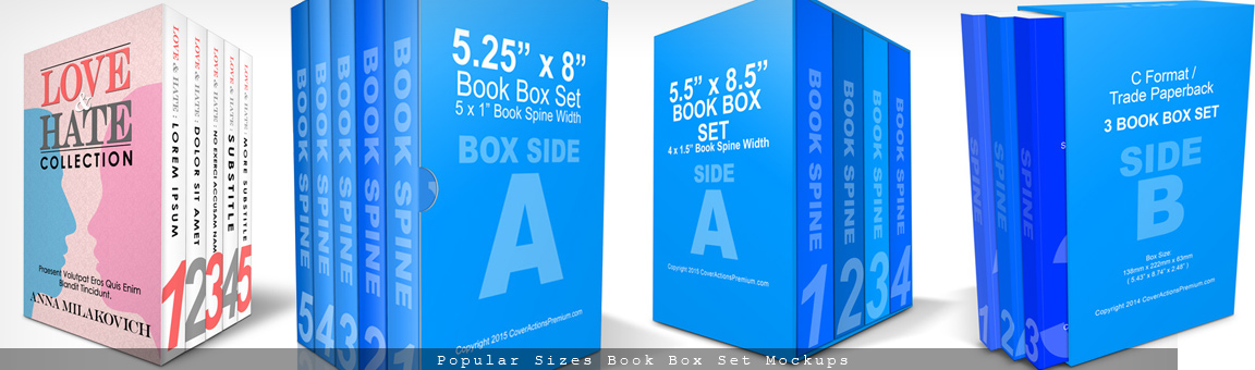 Book Box Set Mockup Cover Actions
