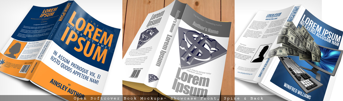 Open Softcover Book Mockup Cover Actions