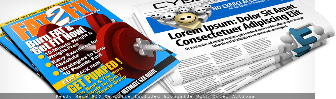 Magazine Newspaper Mockups- Cover Actions