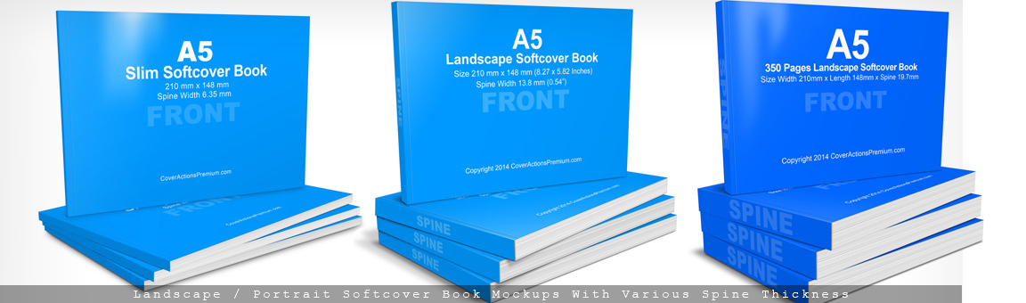 A5 Horizontal Softcover Book Mockups- Cover Actions