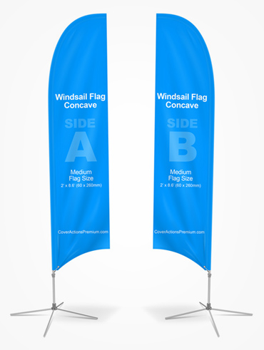 Concave Feather Flag Mockup