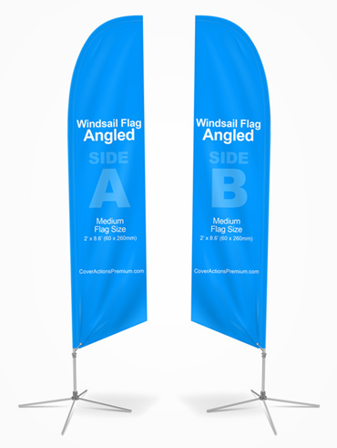 Angled Feather Flag Mockup