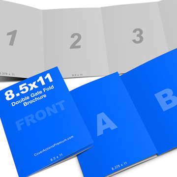 5x11 Double Gate Fold Brochure Mockup