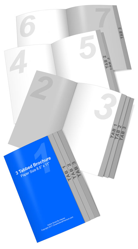 3 tab brochure mock up action set cover actions premium mockup