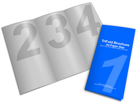 Third a4 size tri fold cover actions premium mockup for A4 tri fold brochure template