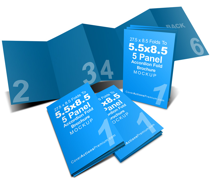5 panel 5 5 x 8 5 accordion fold brochure mockup cover. Black Bedroom Furniture Sets. Home Design Ideas