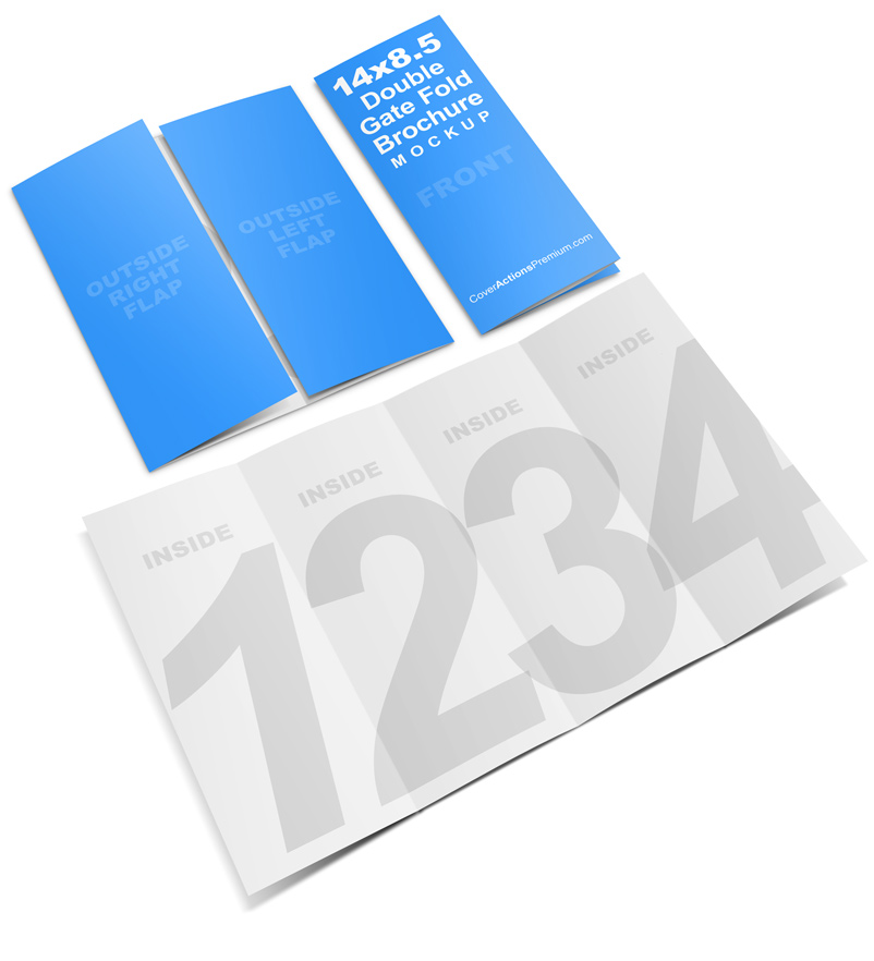 14 x 8 5 Double Gate Fold Brochure Mockup | Cover Actions
