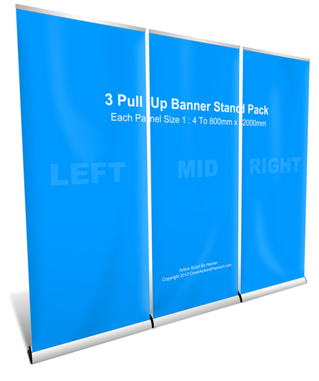 3 roll up banner stand mockup