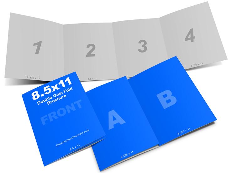 Double Gate Fold Brochure Mockup