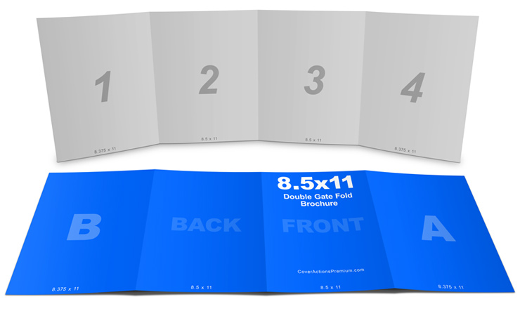 4 Panel 8 5 215 11 Double Gate Fold Brochure Mockup Cover
