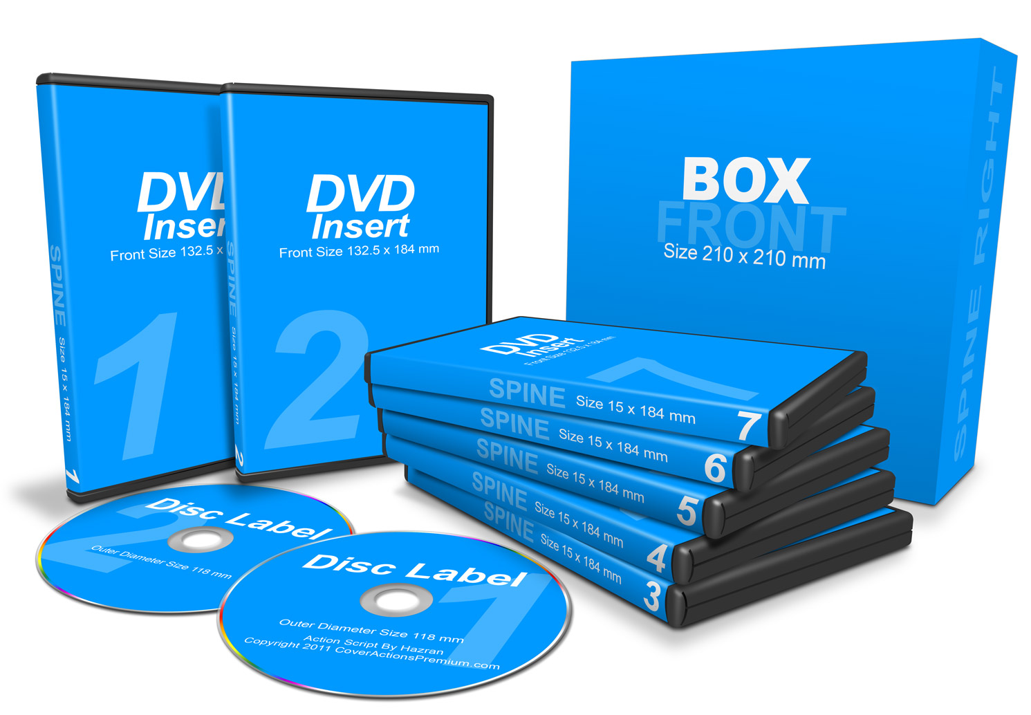 7 Dvds With Box Combo Mockup Cover Actions Premium