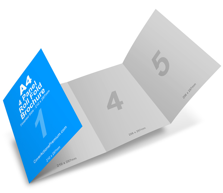 4 panel 8 page a4 roll fold brochure mockup cover actions premium