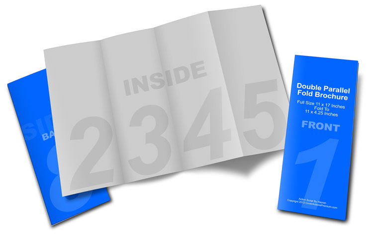4 Fold Double Parallel Brochure Mockup 17x11