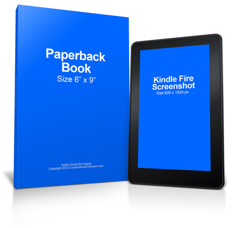 Kindle Fire Paperback Book Mockup Cover Actions Premium