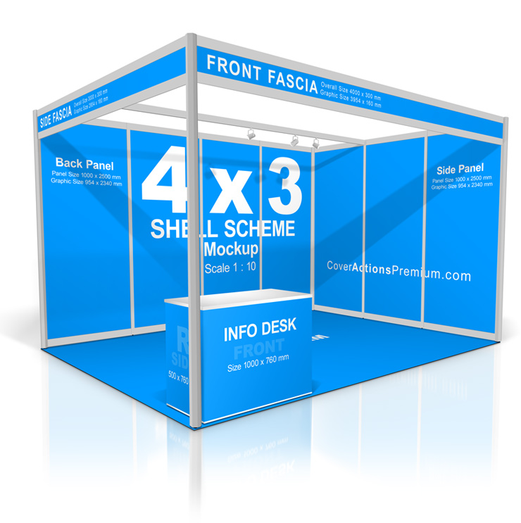 4×3 Shell Scheme Booth Mockup | Cover Actions Premium | Mockup PSD