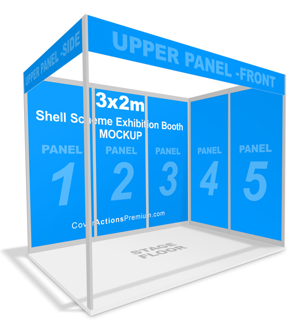 Shell Scheme Exhibition Booth Mockup | Cover Actions Premium