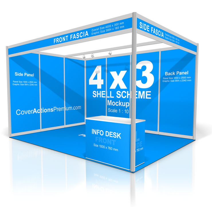 Shell Scheme Booth Mockup | Cover Actions Premium | Mockup PSD Template