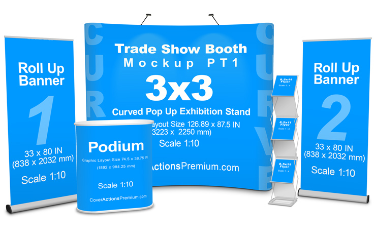 Free Pop Up Exhibition Stand Mockup : Trade show booth mockup cover actions premium